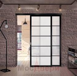Межкомнатная перегородка раздвижная алюминиевая Horman Loft Standart 206U Черная стекло Lacobel Белый - фото 39783