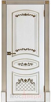 Межкомнатная дверь Эмаль Aurelia Bianco patina Oro глухая - фото 40629