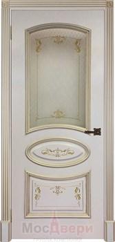 Межкомнатная дверь Эмаль Genoa Avorio patina Oro со стеклом - фото 40644