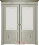 Межкомнатная дверь Флоренс 62002 Серена светло-серый со стеклом Распашная Двустворчатая