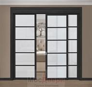 Раздвижная перегородка Quadra 308  Черная стекло Триплекс Белый