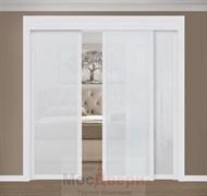 Раздвижная перегородка Quadra 301  Белая стекло Триплекс Белый