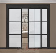 Раздвижная перегородка Quadra 306  Черная стекло Триплекс Белый