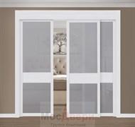 Раздвижная перегородка Quadra 303  Белая стекло Триплекс Графит
