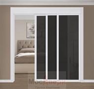 Раздвижная перегородка Quadra 301K  Белая стекло Триплекс Черный