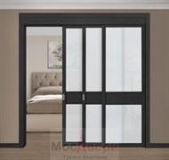 Раздвижная перегородка Quadra 303K  Черная стекло Триплекс Белый