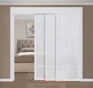 Раздвижная перегородка Quadra 310K  Белая стекло Триплекс Белый