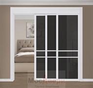Раздвижная перегородка Quadra 302K  Белая стекло Триплекс Черный