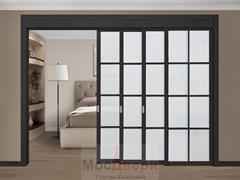 Межкомнатная перегородка раздвижная Horman Quadra 409K  Черная стекло Триплекс Белый