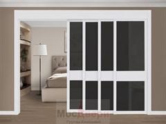 Межкомнатная перегородка раздвижная Horman Quadra 403K  Белая стекло Триплекс Черный