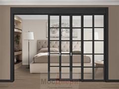 Межкомнатная перегородка раздвижная Horman Quadra 410K  Черная стекло Триплекс Прозрачный