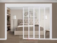 Межкомнатная перегородка раздвижная Horman Quadra 401K  Белая стекло Триплекс Прозрачный
