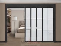 Раздвижная перегородка Quadra 406K  Черная стекло Триплекс Белый