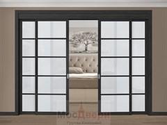 Раздвижная перегородка Quadra 408  Черная стекло Триплекс Белый