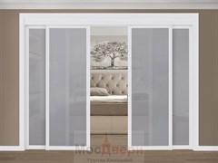 Раздвижная перегородка Quadra 401  Белая стекло Триплекс Графит