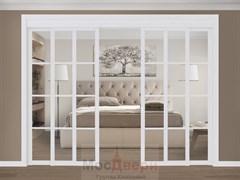 Раздвижная перегородка Quadra 407  Белая стекло Триплекс Прозрачный