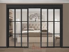 Раздвижная перегородка Quadra 406  Черная стекло Триплекс Прозрачный