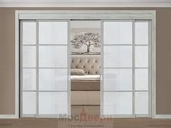 Межкомнатная перегородка раздвижная Horman Quadra 407  Серая стекло Триплекс Белый
