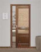 Дверь пенал раздвижная встроенная одностворчатая Ульяновская Женева Ясень Дуглас со стеклом