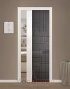 Дверь пенал раздвижная встроенная одностворчатая Локсли Бьянко со стеклом