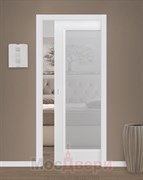 Дверь пенал раздвижная встроенная одностворчатая Эмаль Fortezza Bianco со стеклом