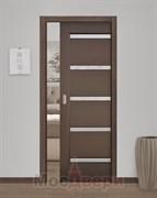 Дверь пенал раздвижная встроенная одностворчатая Ульяновская Гент Венге со стеклом