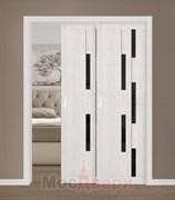 Дверь пенал раздвижная встроенная двустворчатая каскад Profil 30RTX Эш Вайт Мелинга со стеклом