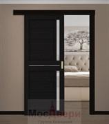 Раздвижная одностворчатая дверь Profil 19RTX Венге Темный со стеклом