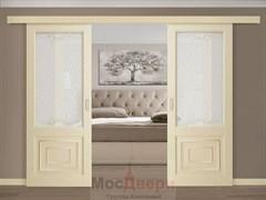 Раздвижная двустворчатая дверь Profil 2.121RNF Крем со стеклом