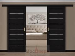 Раздвижная двустворчатая дверь Profil 71RTX Венге Темный со стеклом