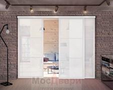 Межкомнатная перегородка раздвижная алюминиевая Horman Loft Standart 304U Белая стекло Lacobel Белый