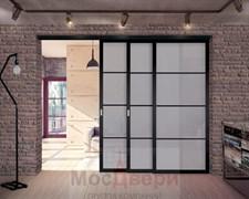 Межкомнатная перегородка раздвижная алюминиевая Horman Loft Standart 305K Черная стекло Lacobel Графит