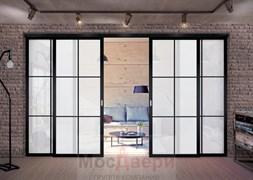 Межкомнатная перегородка раздвижная алюминиевая Horman Loft Standart 407U Черная стекло Lacobel Белый