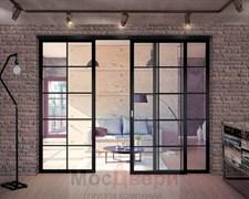 Межкомнатная перегородка раздвижная алюминиевая Horman Loft Standart 309U Черная стекло Lacobel прозрачное