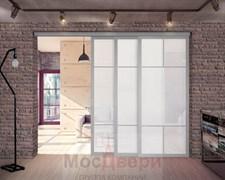 Межкомнатная перегородка раздвижная алюминиевая Horman Loft Standart 312K Металлик стекло Lacobel Белый