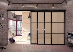 Межкомнатная перегородка раздвижная алюминиевая Horman Loft Standart 404K Черная стекло Lacobel Бронза
