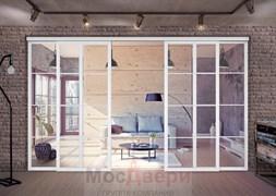 Раздвижная алюминиевая перегородка Loft Standart 405U Белая стекло Lacobel прозрачное