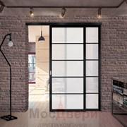 Раздвижная алюминиевая перегородка Loft Standart 206U Черная стекло Lacobel Белый