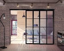 Межкомнатная перегородка раздвижная алюминиевая Horman Loft Standart 308K Черная стекло Lacobel прозрачное