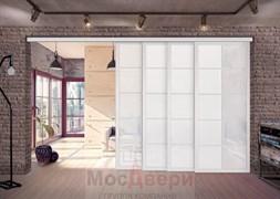 Межкомнатная перегородка раздвижная алюминиевая Horman Loft Standart 409K Белая стекло Lacobel Белый