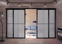 Межкомнатная перегородка раздвижная алюминиевая Horman Loft Standart 402U Черная стекло Lacobel Графит