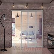 Раздвижная алюминиевая перегородка Loft Standart 204U Металлик стекло Lacobel прозрачное