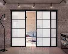 Межкомнатная перегородка раздвижная алюминиевая Horman Loft Standart 305U Черная стекло Lacobel Белый