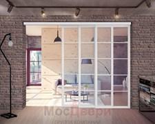Межкомнатная перегородка раздвижная алюминиевая Horman Loft Standart 306K Белая стекло Lacobel прозрачное