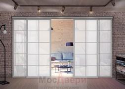 Межкомнатная перегородка раздвижная алюминиевая Horman Loft Standart 409U Металлик стекло Lacobel Белый