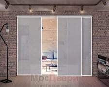 Межкомнатная перегородка раздвижная алюминиевая Horman Loft Classica 301U Белая стекло Lacobel Графит