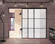 Межкомнатная перегородка раздвижная алюминиевая Horman Loft Classica 304K Черная стекло Lacobel Белый