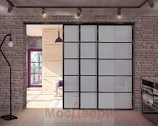 Раздвижная алюминиевая перегородка Loft Classica 406U Черная стекло Lacobel Графит