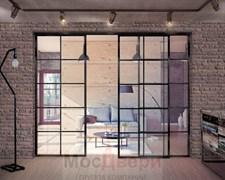 Раздвижная алюминиевая перегородка Loft Classica 309U Черная стекло Lacobel прозрачное