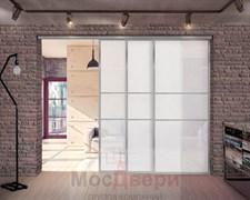 Межкомнатная перегородка раздвижная алюминиевая Horman Loft Classica 303K Металлик стекло Lacobel Белый